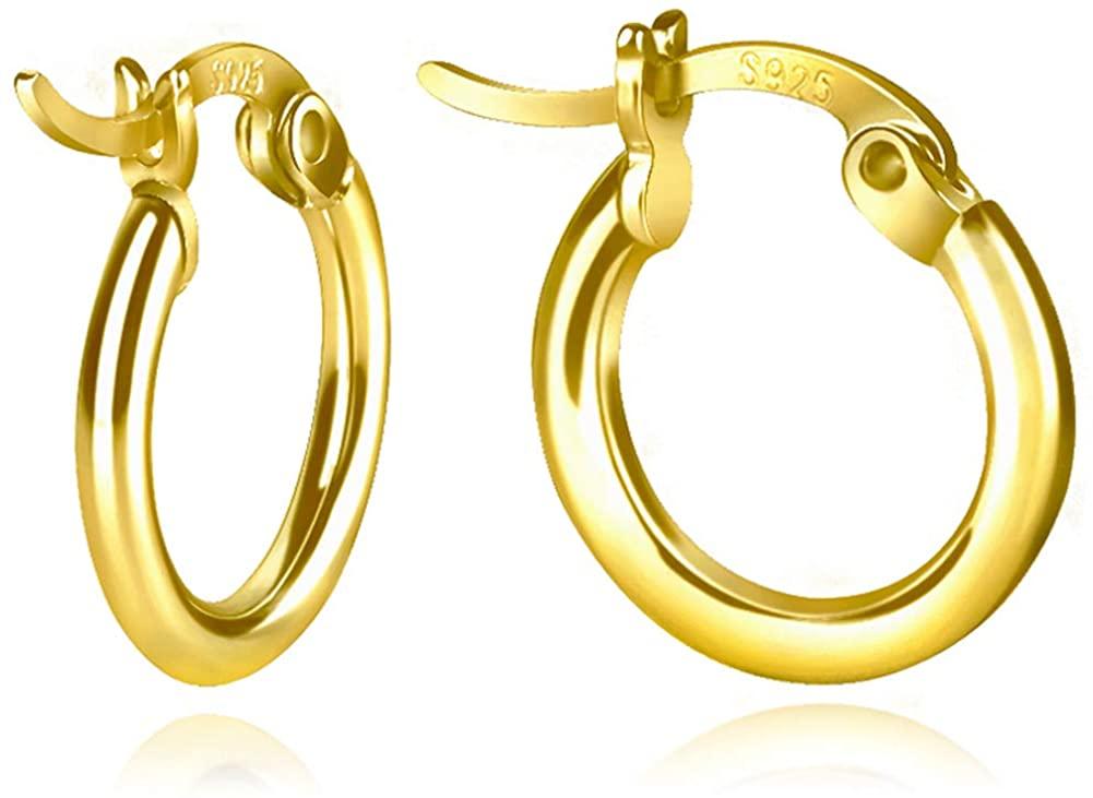 Sterling Silver Hoop Earrings, Small Clasp Hoop Earrings in Gold, Rose Gold, Silver for Women Girls