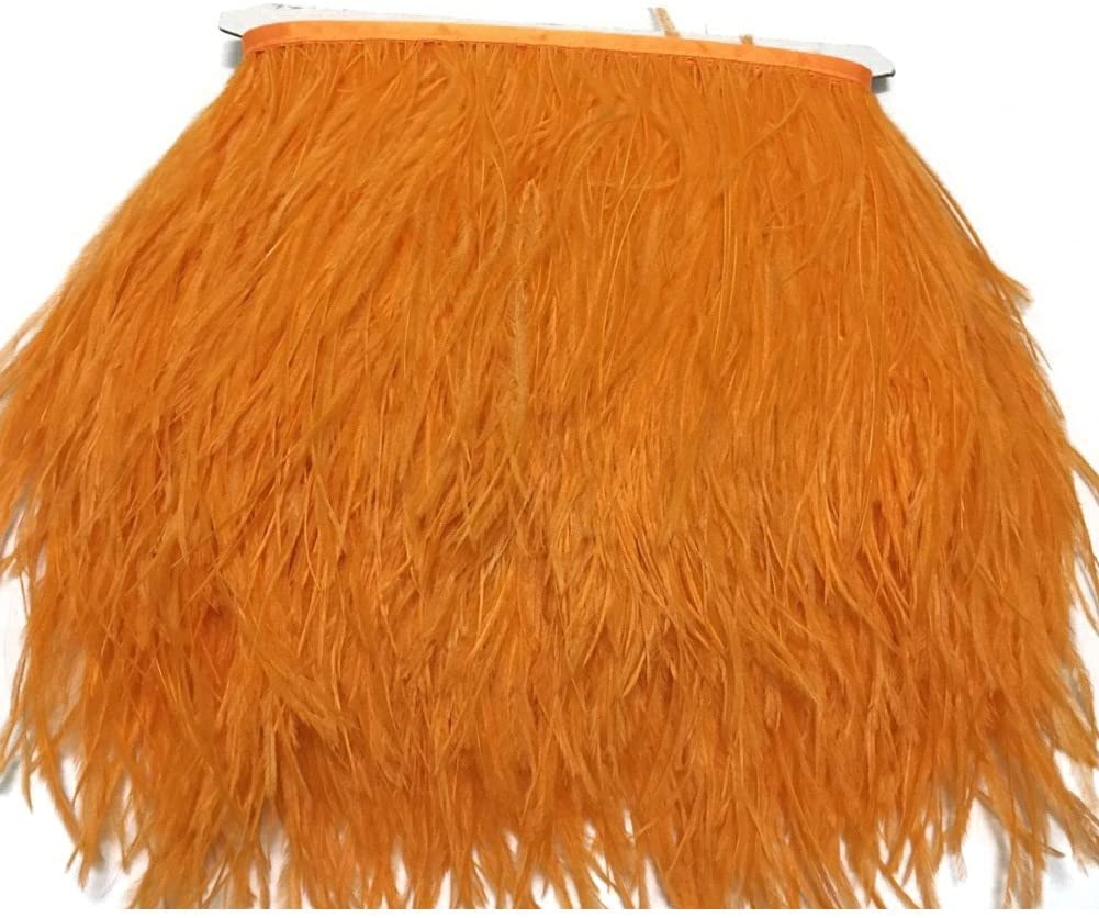 MELADY 5 Yards Fashion Dress Sewing Crafts Costumes Decoration Ostrich Feathers Trims Fringe with Satin Ribbon Tape (Orange)