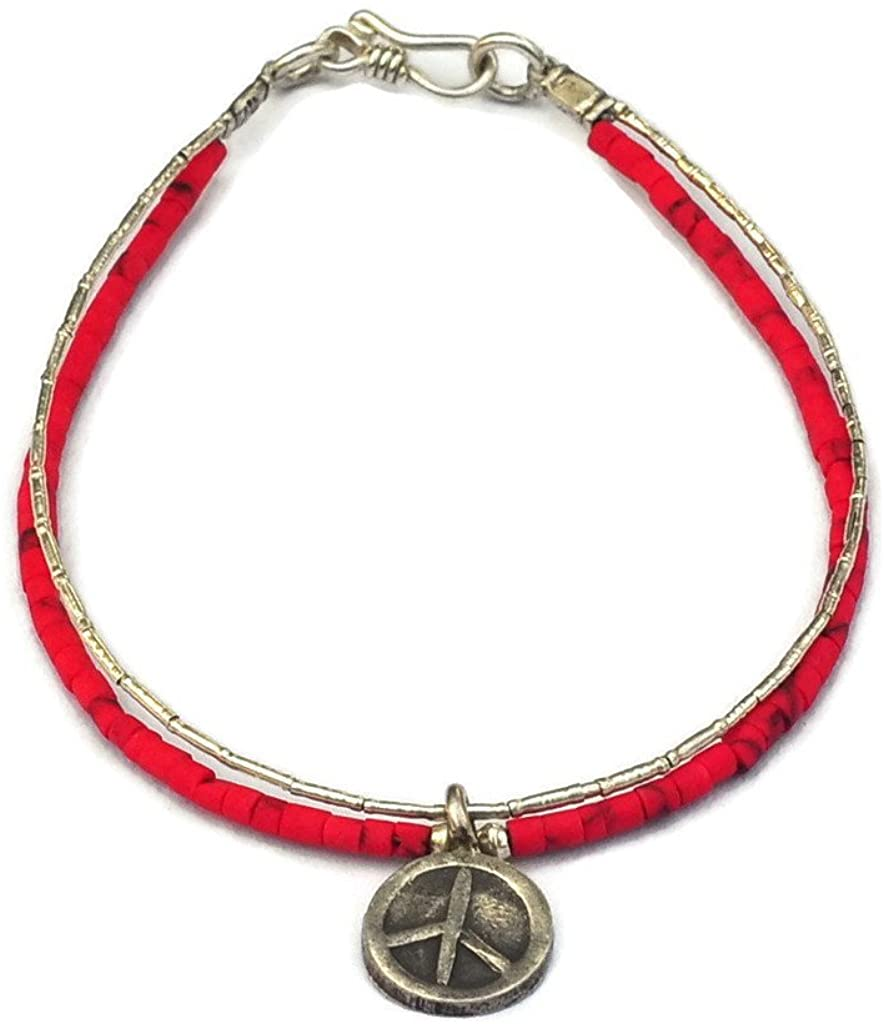 SabanNga Adults Thai Bracelet 980 Sterling Silver 17-17.5 cm. Silver and Red