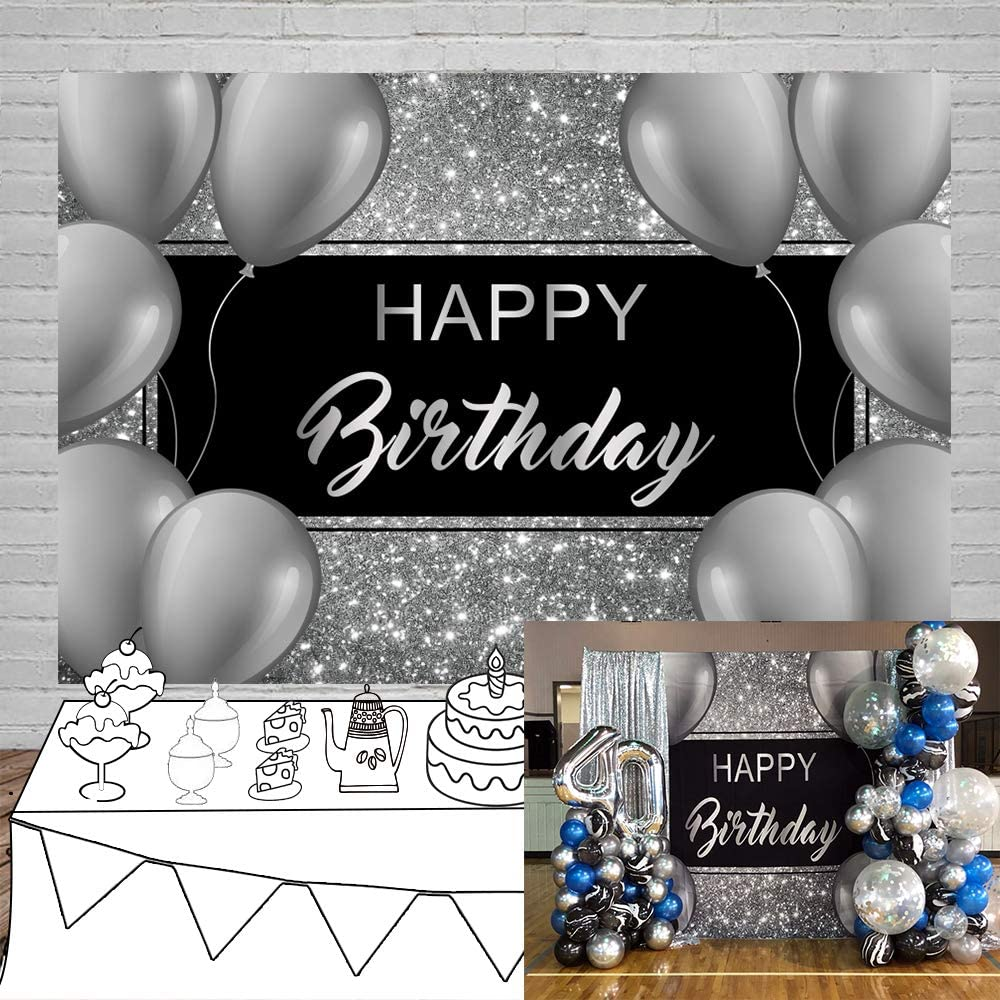Laeacco 10x6.5ft Happy Birthday Vinyl Photography Background Grey Balloons Decors Silver Glittering Backdrops Child Kids Baby Adult Birthday Party Banner Cake Smash Studio Photo Props