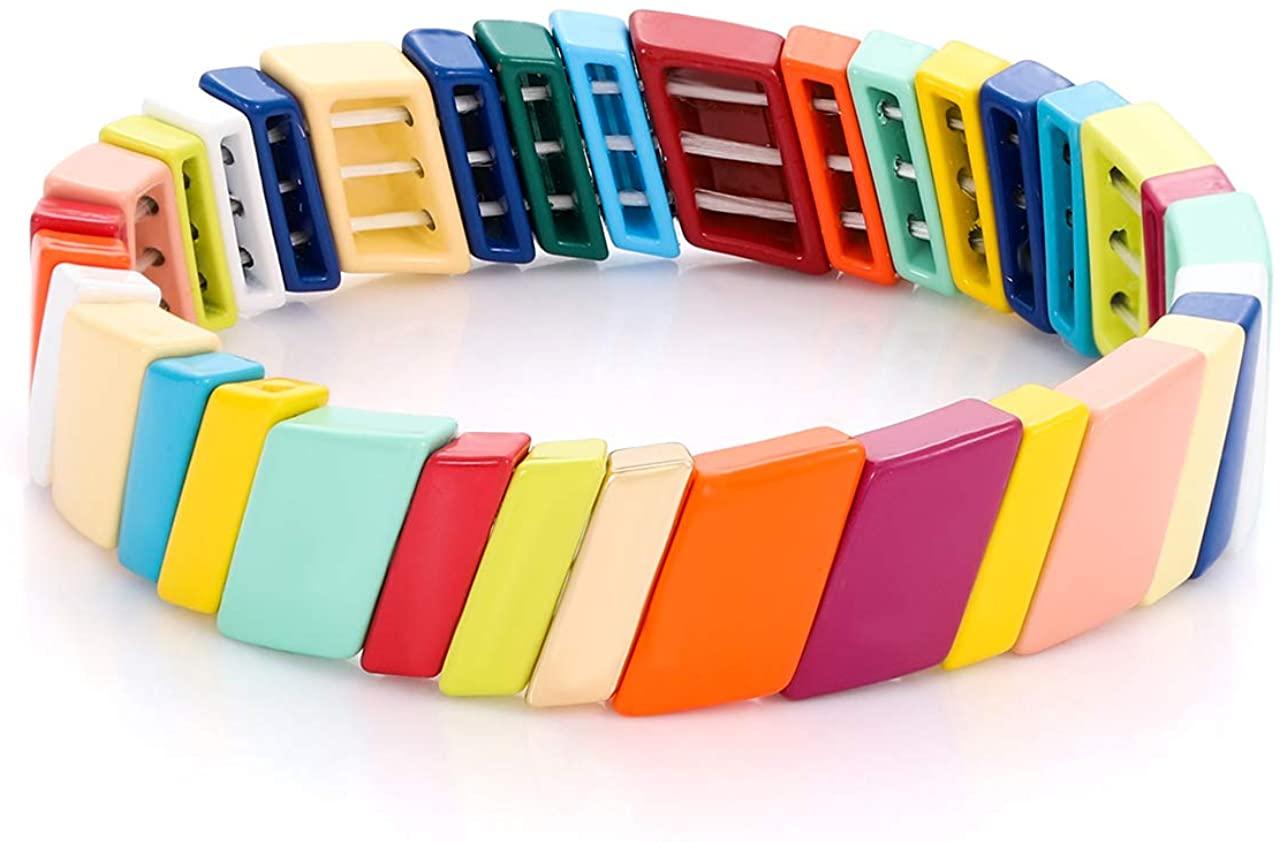 LENOOCLE Rainbow Enamel Tile Bracelet Colorful Beaded Stretch Bracelet Geometric Stackable Color-Block Strand Bracelet for Women Girls