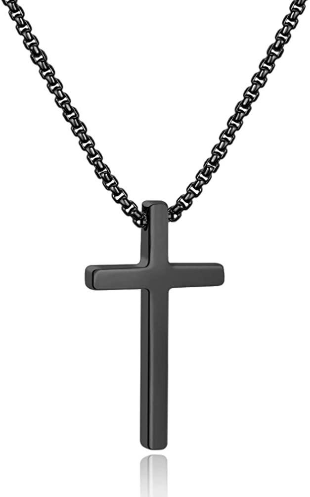 Ursteel Cross Necklace for Men, Silver Black Gold Stainless Steel Cross Pendant Necklace for Men, 16-30 Inches Box Chain