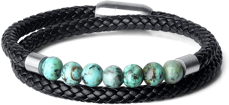COAI Double Layer Stone Beaded Leather Bracelet