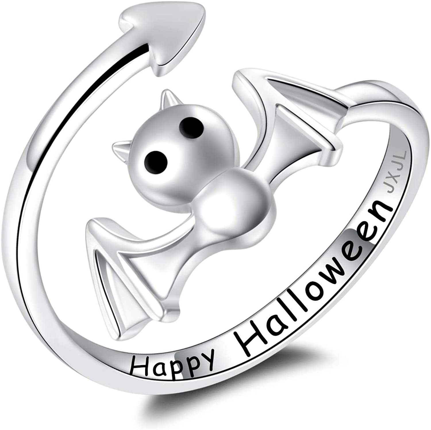 S925 Sterling Silver Bat Ring Happy Halloween Party Gift Cute Witch Costume Bat Jewelry for Teens Women Girls