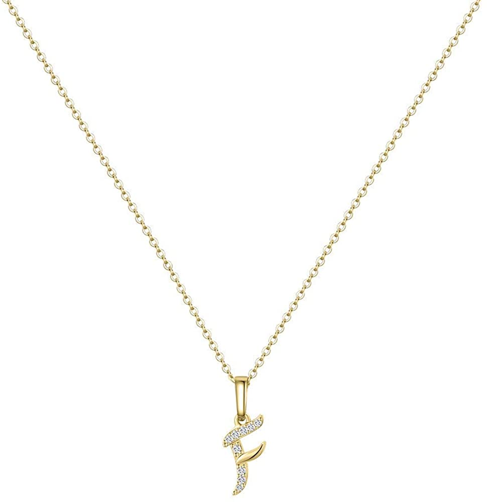 Hidepoo Initial Necklace for Women – 14k Gold Filled Dainty Cubic Zirconia Monogram Letter Pendant Necklace Tiny Cursive Uppercase 26 Alphabet Initial Necklace Charm Jewelry Gifts for Girls Bridesmaid