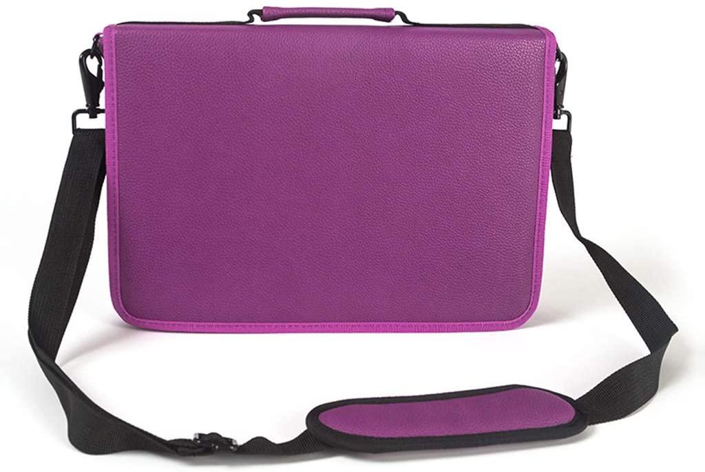 QINREN 160 Slots Leather Large Capacity Pencil Bag Gel Pen Case Stationery Art Supplies,Purple,Pu Leather