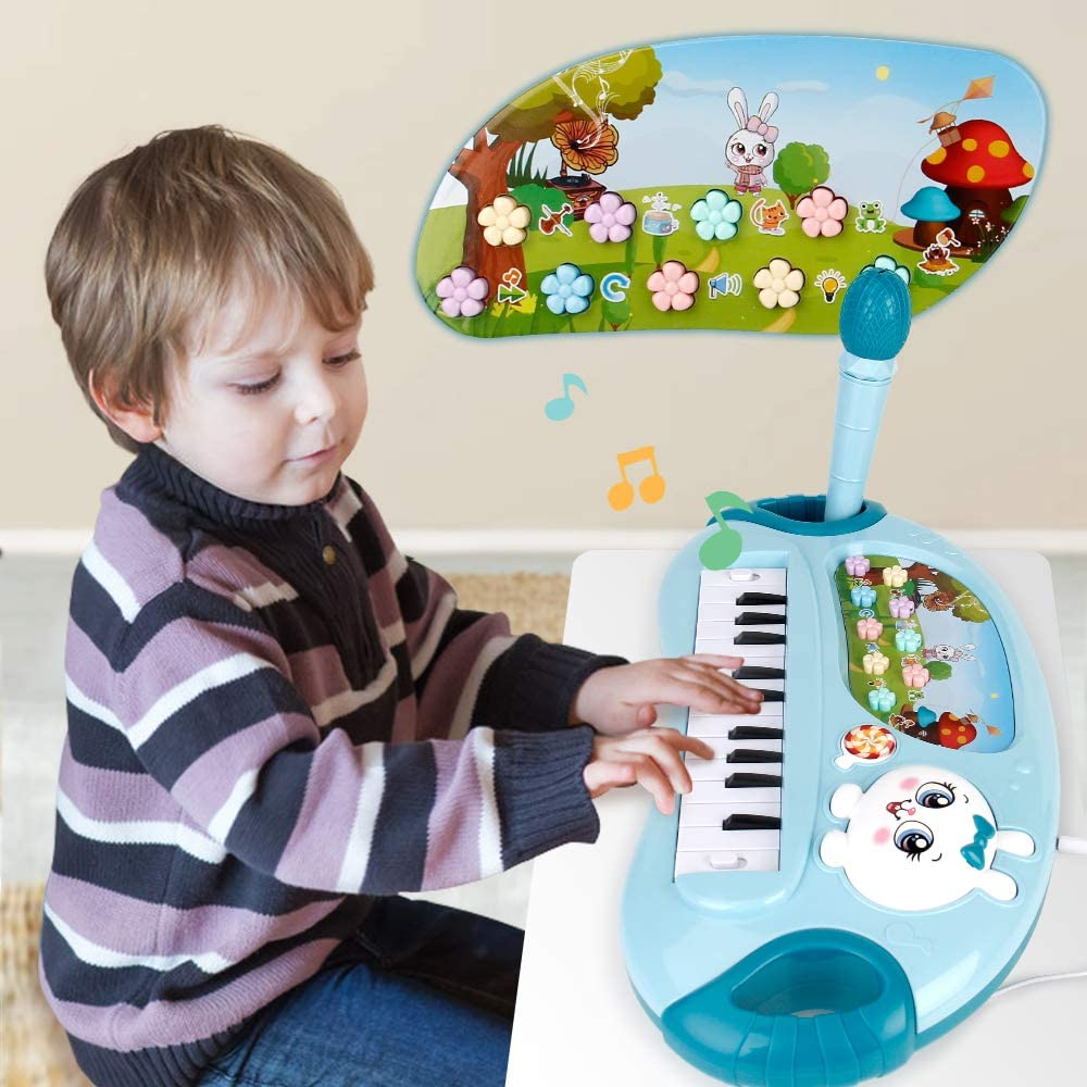 Mini Tudou Piano Toy for Toddler Girls,35 Keys Multifunctional Smart Large Keyboard Toy with Microphone Sing & Play Early Educational Baby Toy Best for 18M+ Kids(Blue)