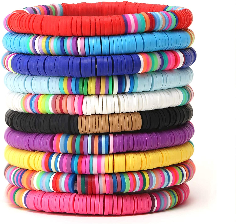 EnjoIt 10PCS Handmade Rainbow Bead Heishi Bracelet Set Polymer Clay Rainbow Boho Bracelet Elastic Rope Bracelet Set Summer Beach Jewelry for Women Girl C2262