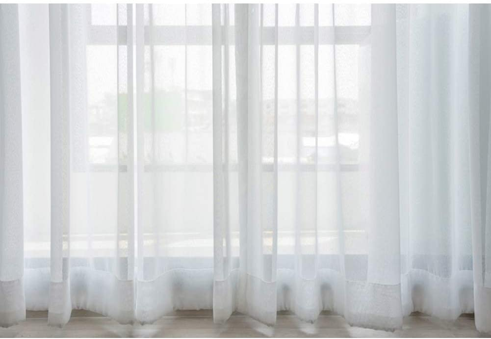 DORCEV 12x8ft Villa Empty Room Photography Backdrop Interior Room French Windows White Curtain Background Modern Flat Furniture Apartment Decoration Residence Villa Props