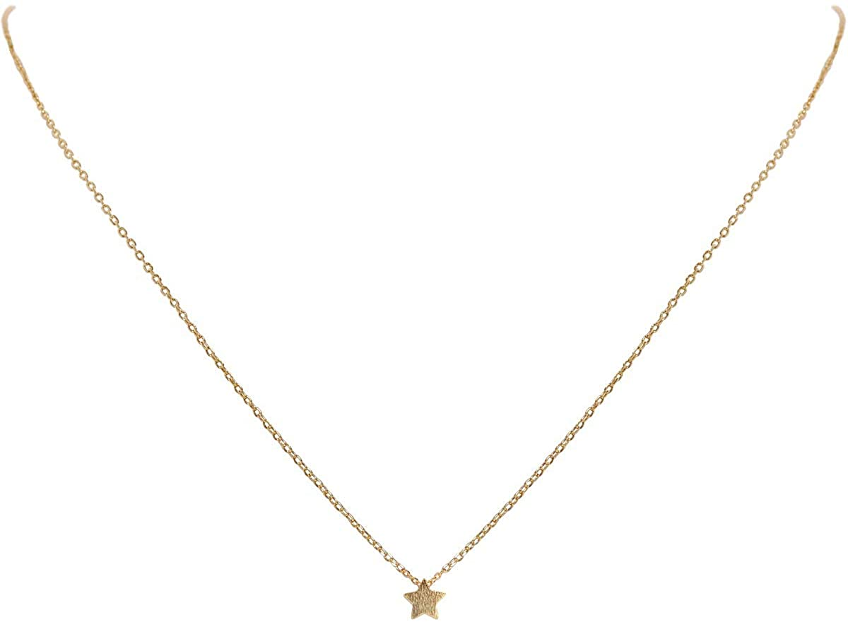 Humble Chic Tiny Charm Necklace - Hypoallergenic Small Dainty Simple Minimalist Pendant Chain Choker for Women - Electro-Plated in 14k Gold or Rhodium