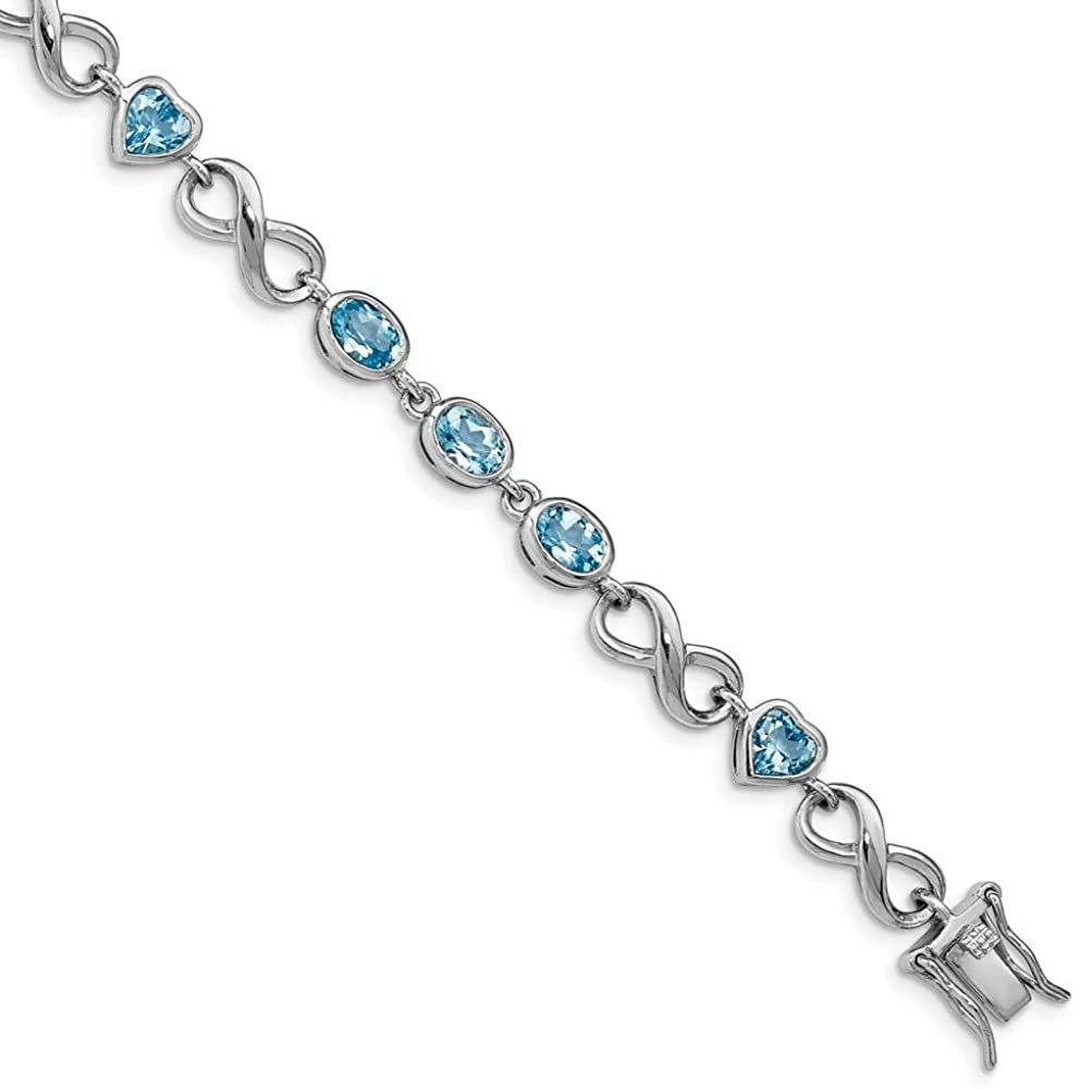 Solid 925 Sterling Silver Oval Love Heart December Simulated Birthstone Blue Simulated Topaz Tennis Bracelet 7.75