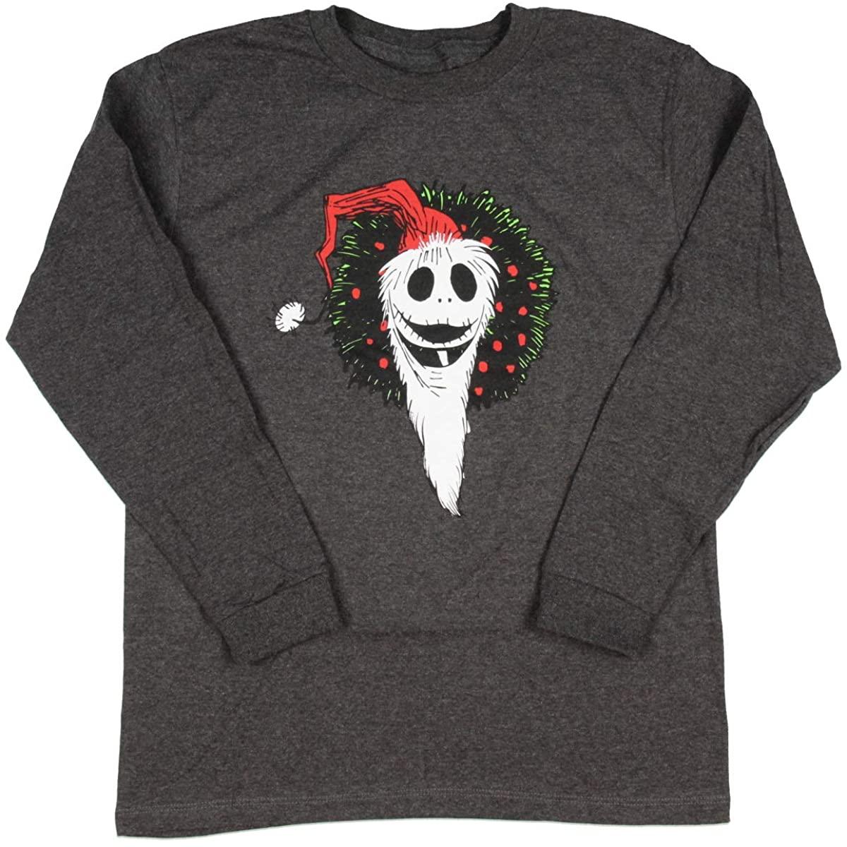Disney Nightmare Before Christmas Boy's Santa Jack Wreath Long Sleeve T-Shirt