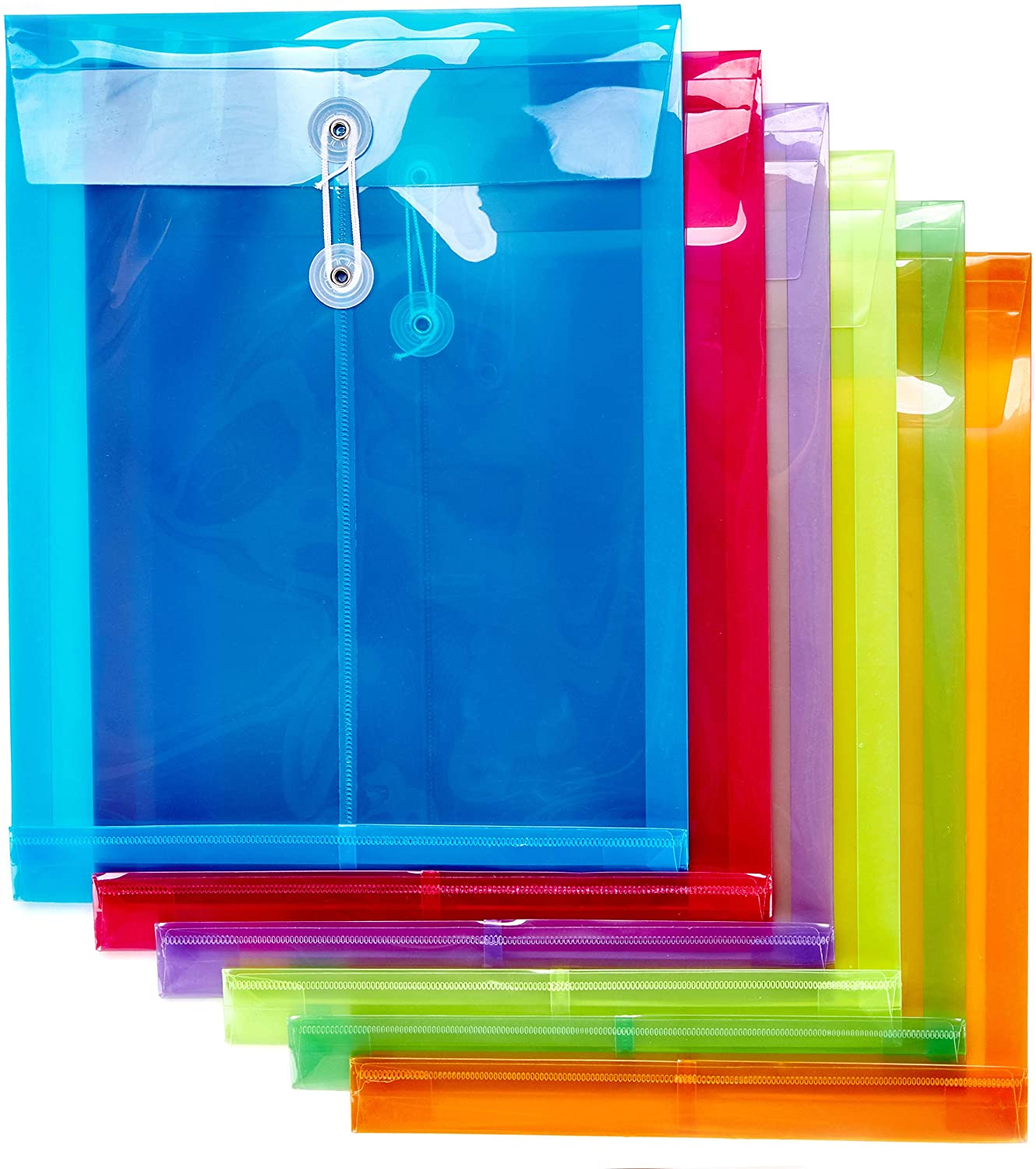 FANWU 6 Pack Plastic Envelopes Poly Envelopes Expandable Files Document Folders with Button & String Tie Closure - Letter A4 Size - 1-1/4 Inch Expansion - for School Office and Home (Assorted Color))