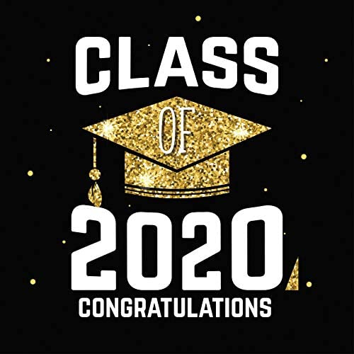 Baocicco 7x7ft Class of 2020 Backdrop Congratulations Sequins Golden Trencher Cap Glitters Photography Background Graduation Party Decoration Prom Back to School High School Graduates Photo Studio