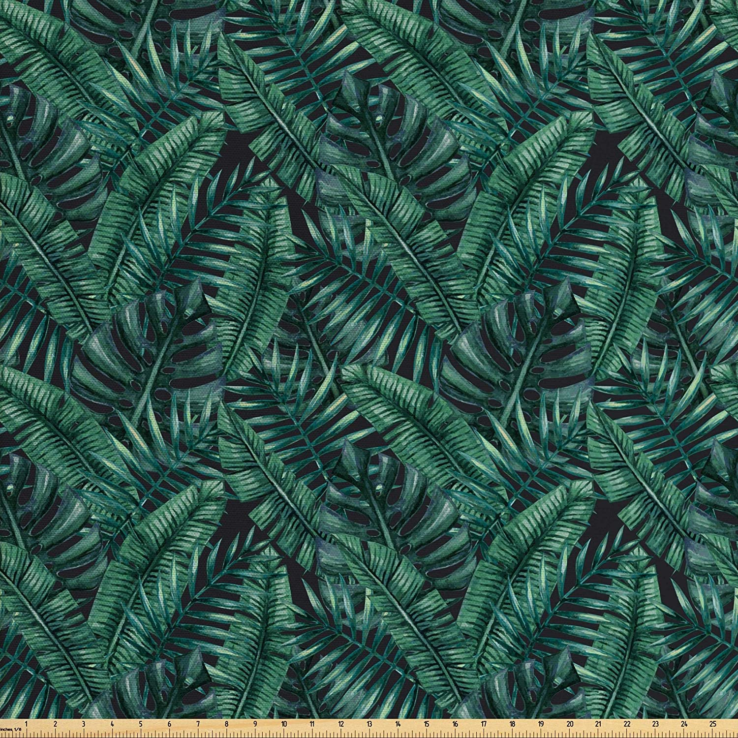 Ambesonne Palm Leaf Fabric by The Yard, Watercolor Tropical Jungle Leaves Pattern Fresh Rainforest Hawaii Summer, Decorative Fabric for Upholstery and Home Accents, 2 Yards, Green Black
