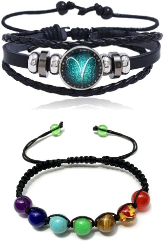 RUTILISM Personality 12 Constellation Leather Vintage Woven Bracelet and Color Stone Bead Bracelet 2 Piece Set (Aries)