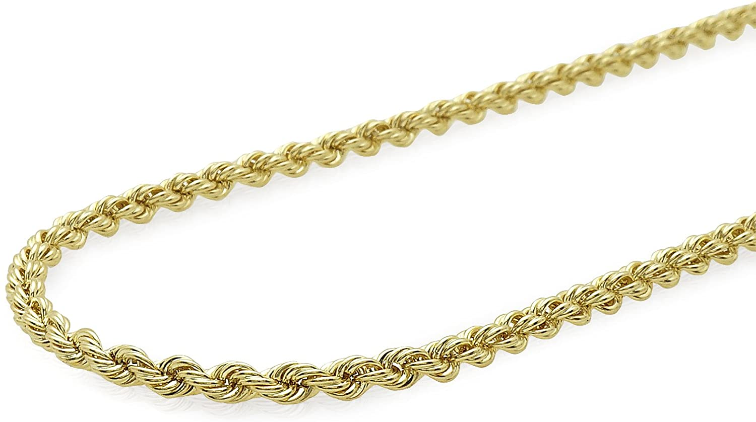 Verona Jewelers 10K Gold 2.5MM Diamond Cut Rope Chain Necklace for Men and Women- Braided Twist Chain Necklace 10K Necklace, 10K Gold Chain