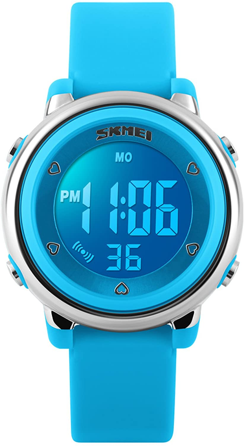 Kids Fashion Digital Sport Waterproof Chronograph Electronic Watches for Girls Blue