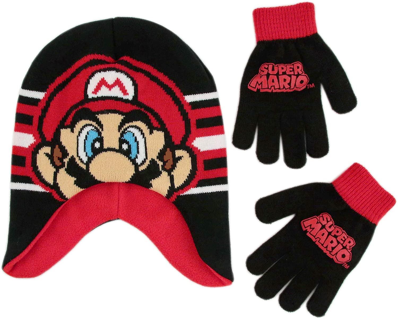 Nintendo Boy Winter Hat Set, Super Mario Kids Beanie and Gloves for Age 4-7