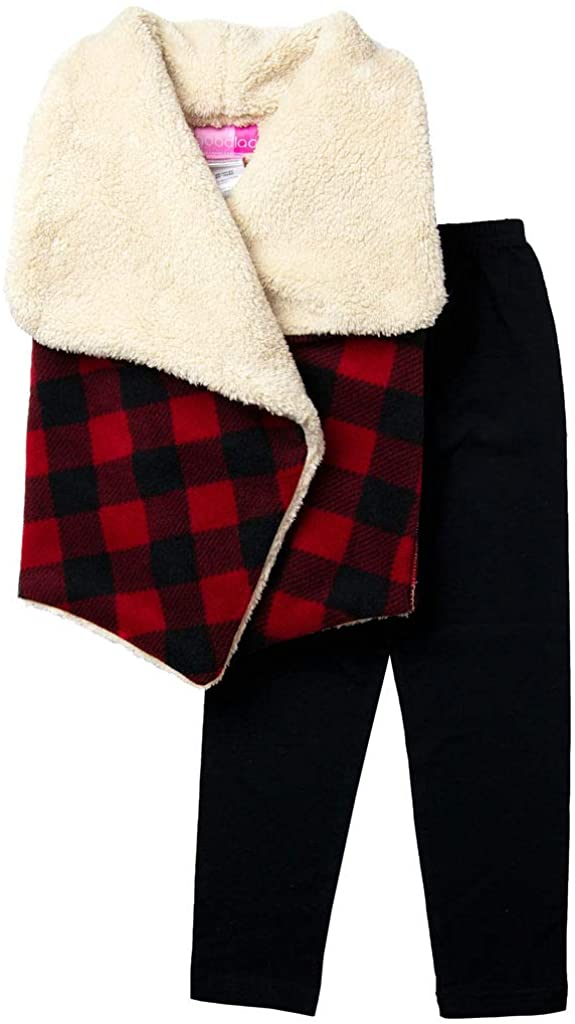 Good Lad Toddler & 4/6X Girl Red Buffalo Check Fleece Waterfall Front Vest with Black Cotton Legging Set