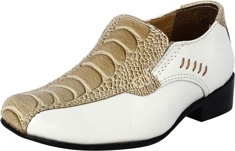 LIBERTYZENO Boys Dress Shoes Croco Lizard Print Skin Genuine Leather Cap Toe Lace Up (Toddlers/Litttle Kid/Big Kid)
