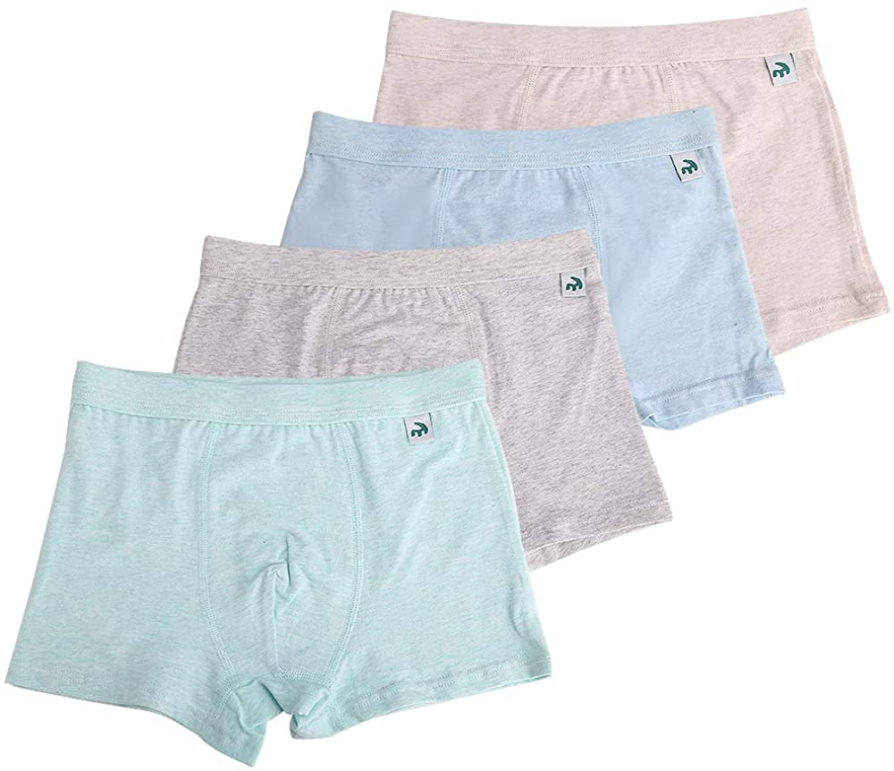 Boys Boxer Briefs, KiMiSUGOi Pack of 4 Solid Breathable Soft Cotton Toddler Underwear for 2-18 Years