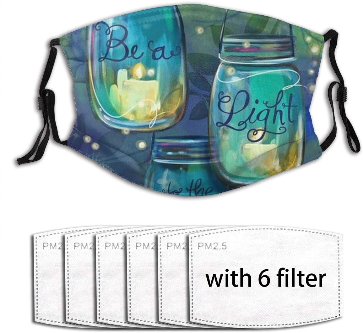Be A Light Garden Flag Inspirational Candles Face Mask With Filter Pocket Washable Reusable Face Bandanas Balaclava With 6 Pcs Filters