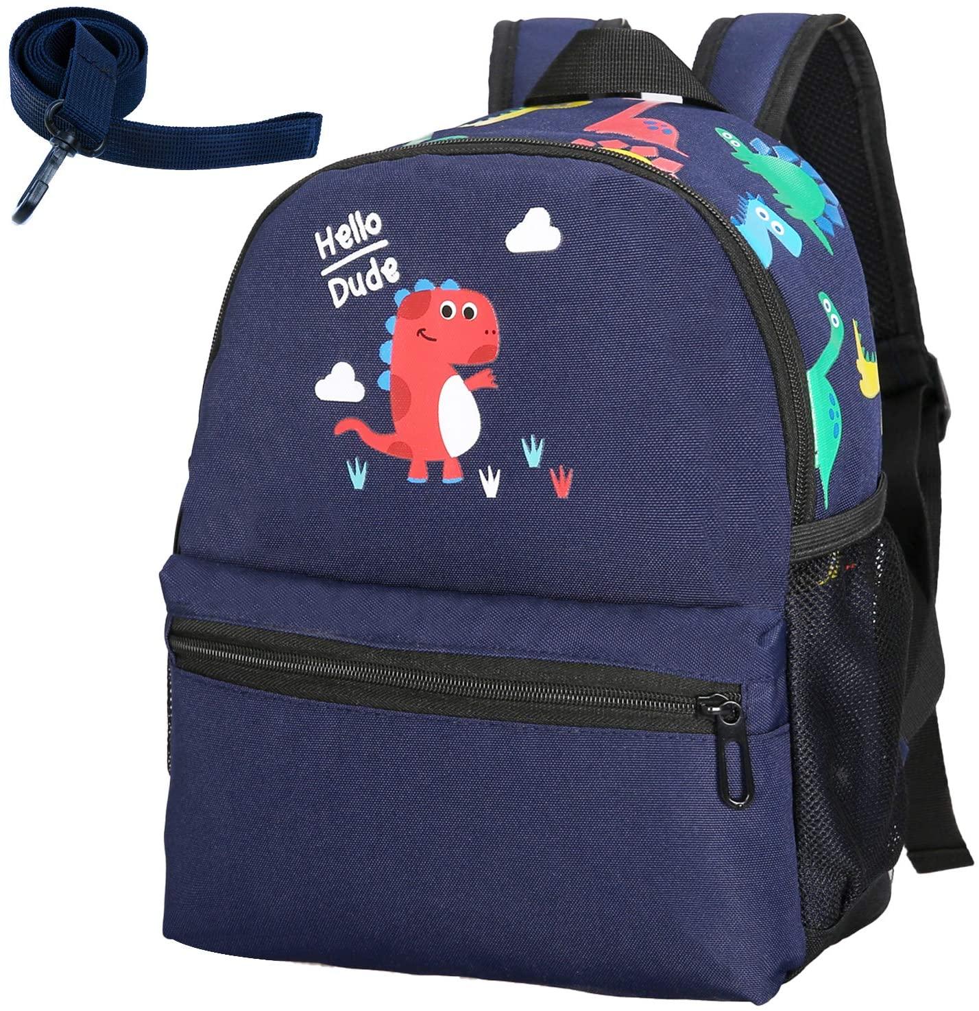 Kids Toddler Backpack Leash Boys Girls Lunchbox Preschool Bag(Dark blue)