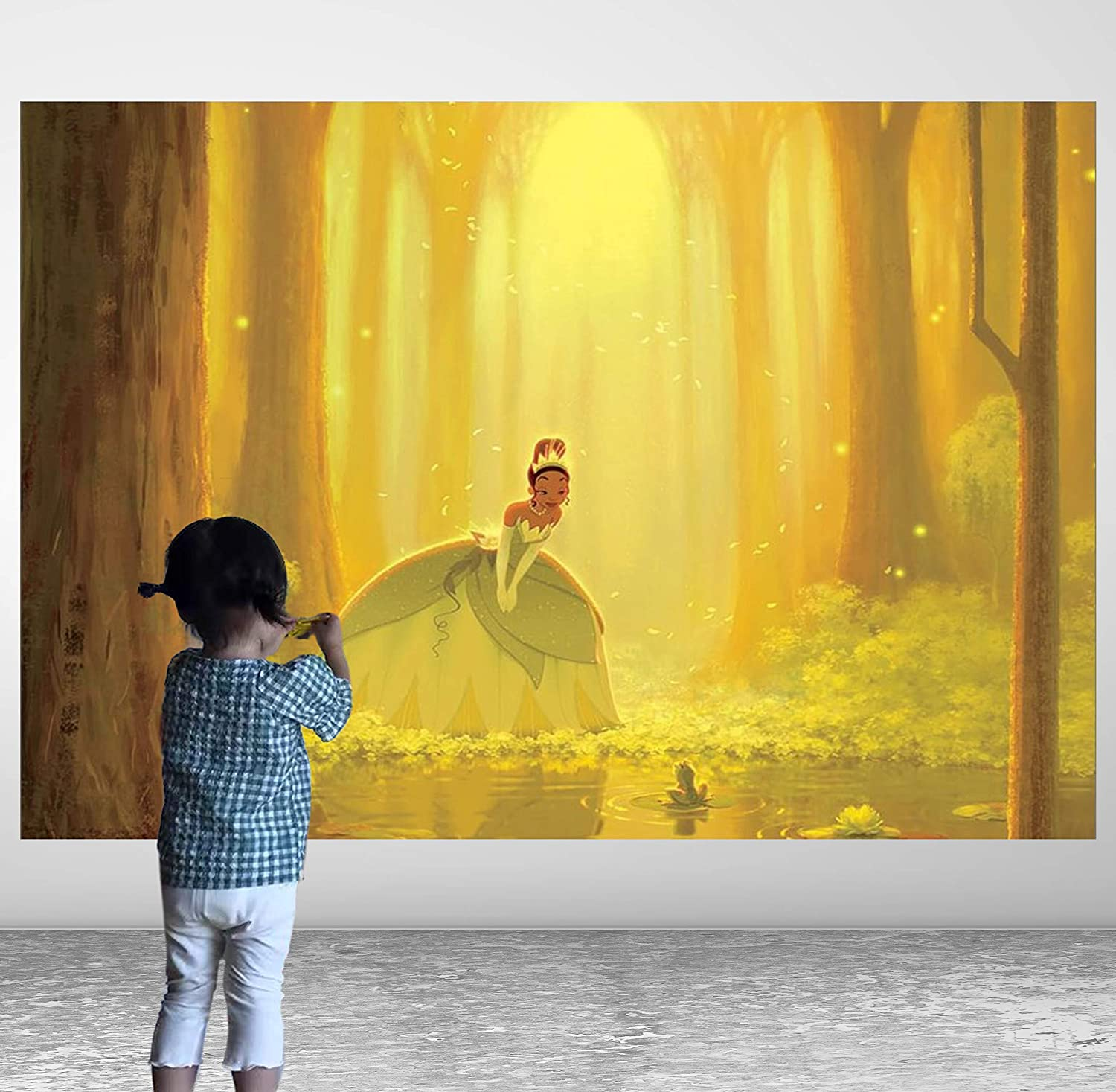 Aladdi Tiana Background Princess and The Frog Backdrop Cartoon Fairy Background Wonderland Fireflies Background Banner Newborn Baby Shower Party Backdrop 1st Birthday Party Supplies Vinyl Backdrop