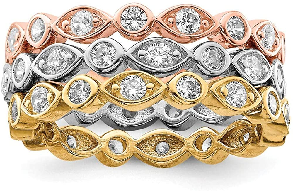 925 Sterling Silver Vermeil Trio Cubic Zirconia Cz Band Rings Ring Engagement Stackable Fancy/Fine Jewelry For Women Gifts For Her