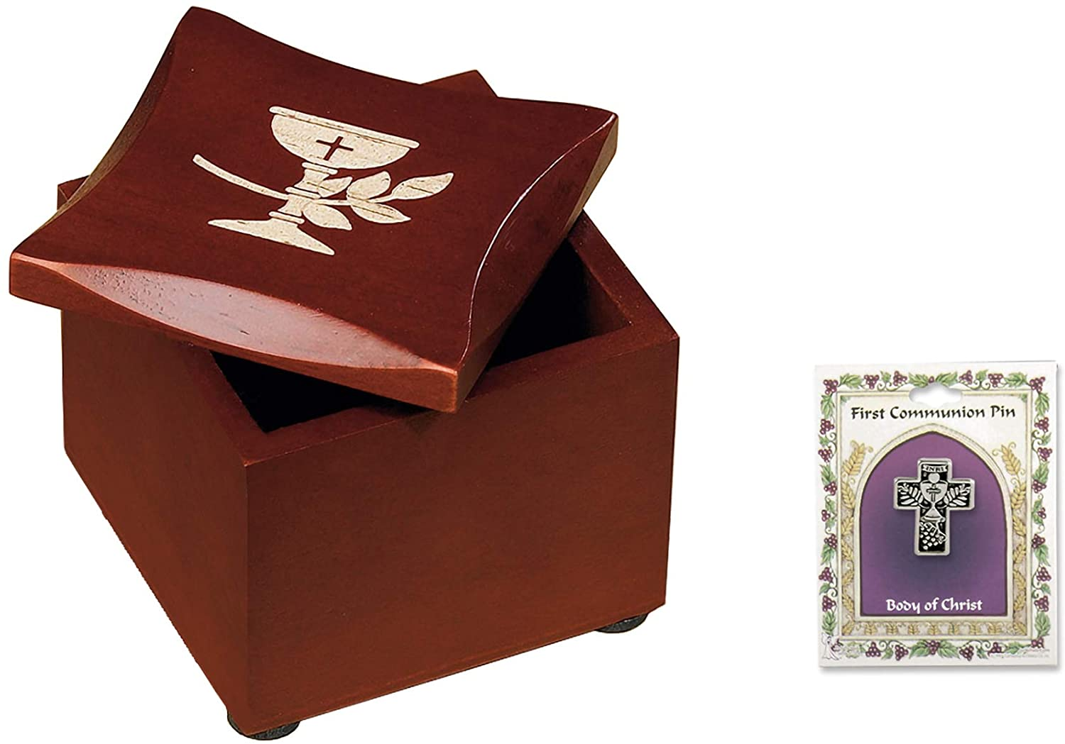 Abbey CA Gift Cross Chalice Cherry Brown and Silver 3 x 2 Wood Decorative Box and Pin