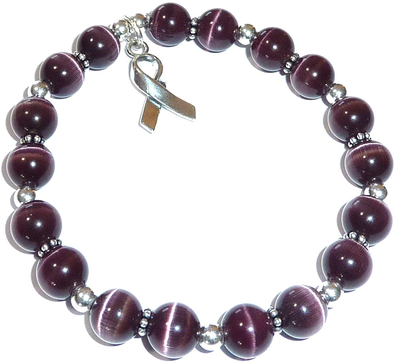 Hidden Hollow Beads Cancer Awareness Stretchy Bracelet.925 Sterling Silver, Strong Stretch Cord Fits Most Wrists