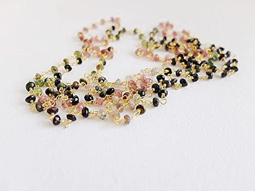 AAA++ Rare Quality super long Multicolor Tourmaline smooth rondelles necklace,on a handwrapped Gold filled chain,cm 150,00,multi way jewelry,superlong rosary 3/4mm Code- WAR159