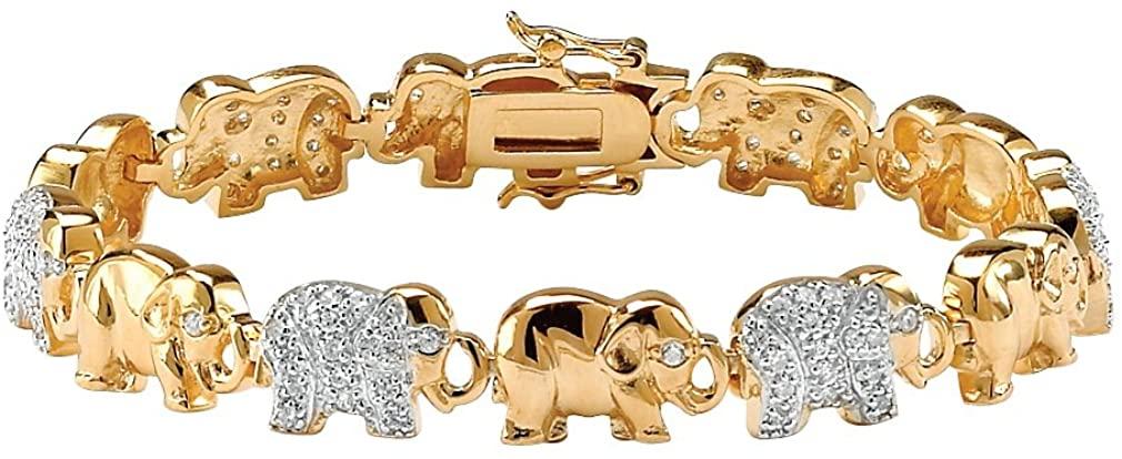 Pave White Cubic Zirconia 18k Gold-Plated Elephant-Link Charm Bracelet 8