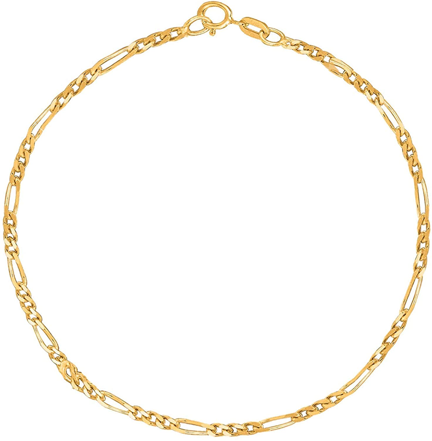 14k SOLID Yellow Or White Gold 1.9mm Diamond-Cut Alternate Classic Mens Figaro Chain Necklace Or Bracelet/Foot Anklet for Pendants and Charms with Spring-Ring Clasp (7