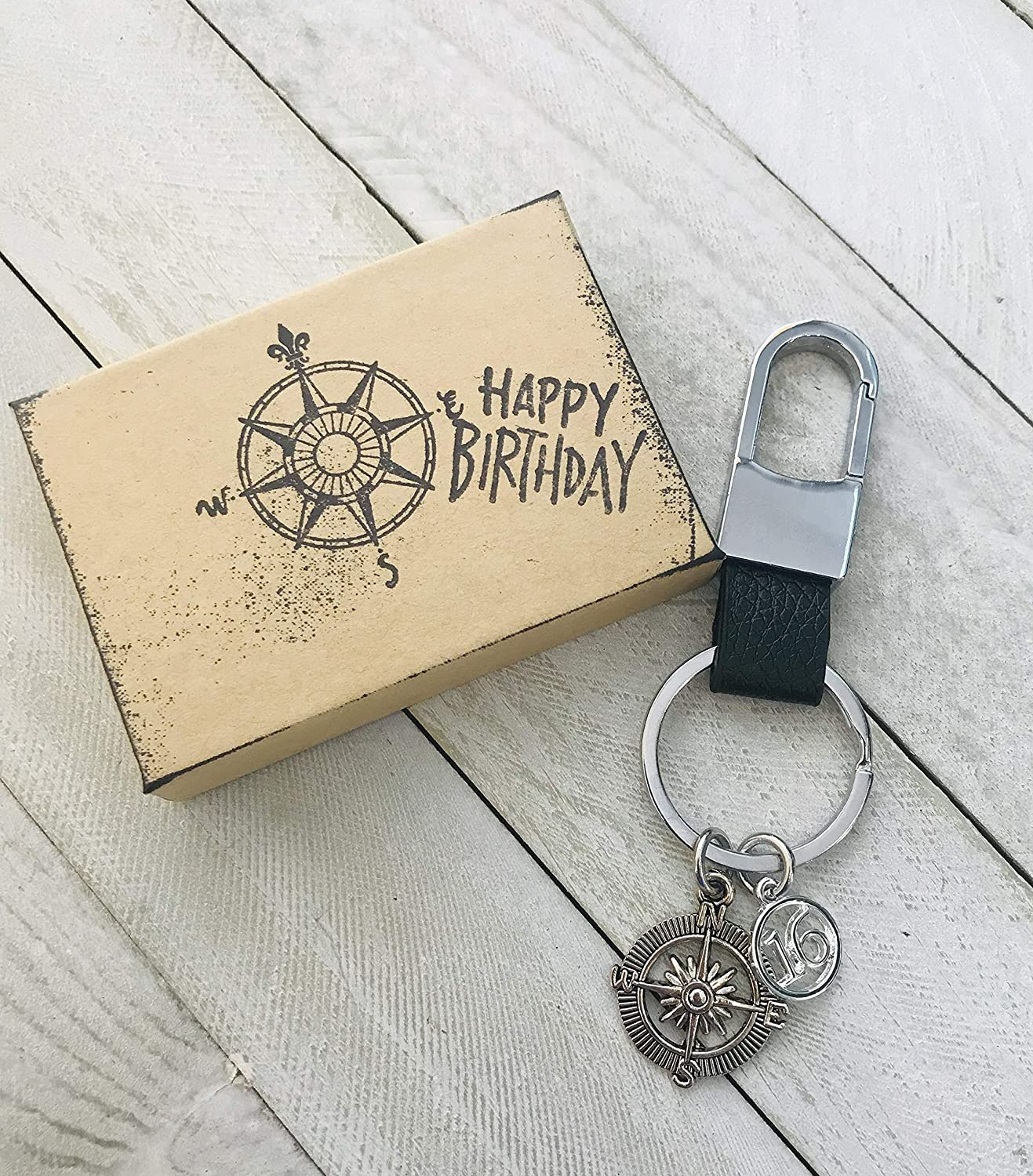 Compass 16th Birthday ~ Black Leather Keepsake Genuine Leather Key Chain with Gift Packaging for Boy or Girl 16 Birthday Gift The Journey is The Destination