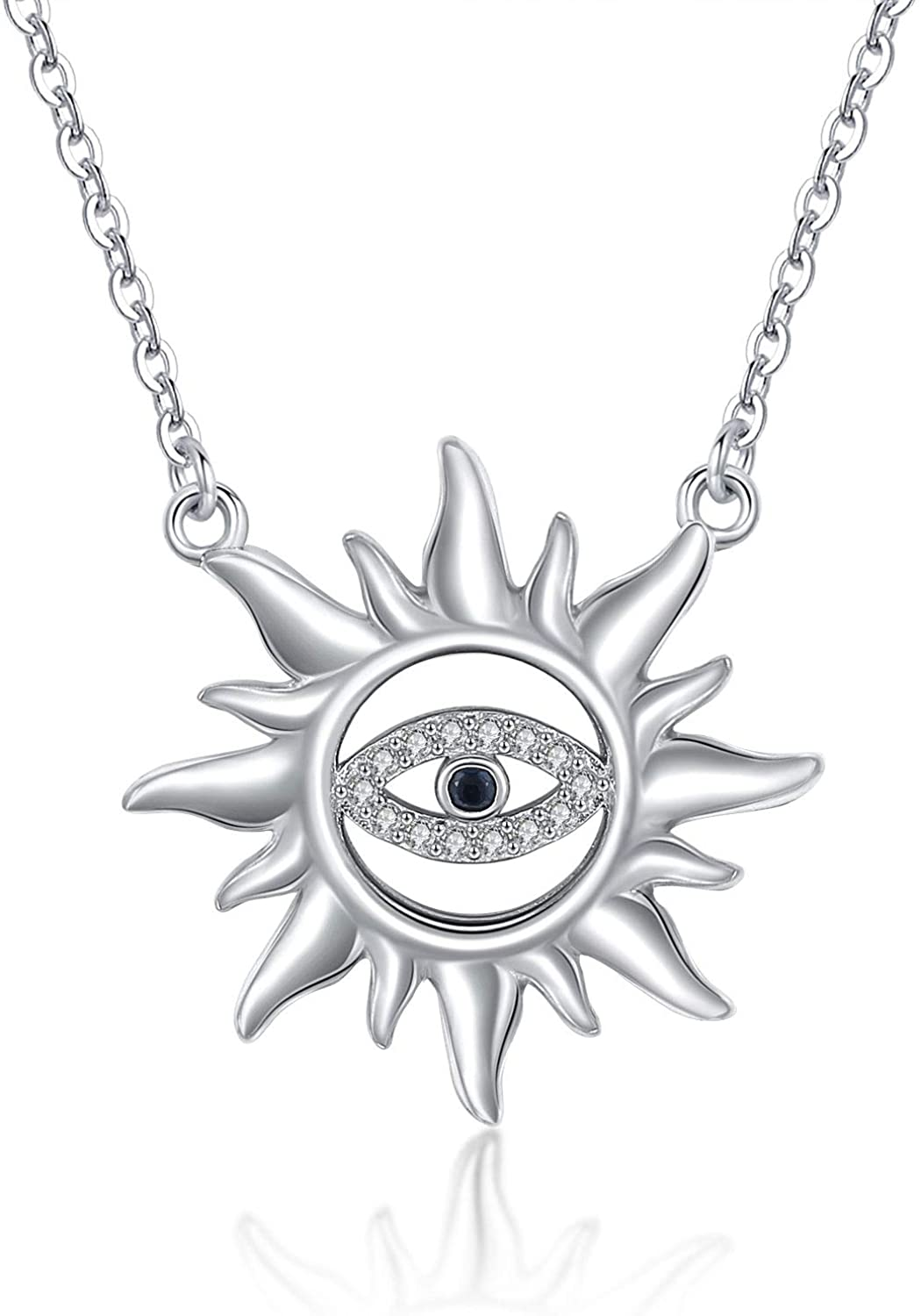 TRISHULA Sun Sunlight Pendant Necklace with Evil Eye, 925 Sterling Silver Sunshine Sunburst Pendant, Evil Eye Charm Jewelry Gift for Women Girl Mom Daughter Wife