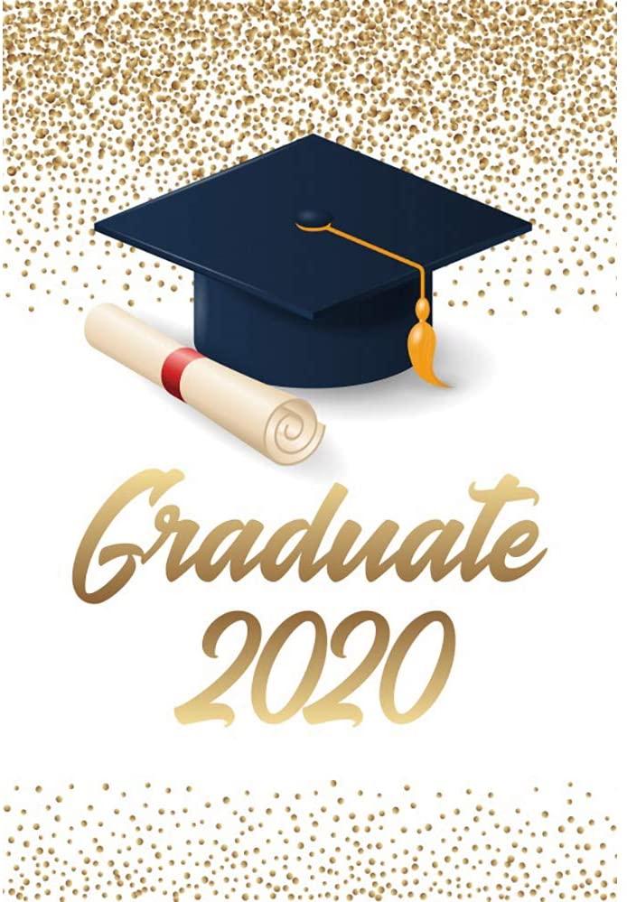DORCEV 4x6ft Congratulation Graduation Photography Backdrop Black Bachelor Cap Glittering Sequins Background Congrats 2020 Graduate Graduation Photo Video Studio Props