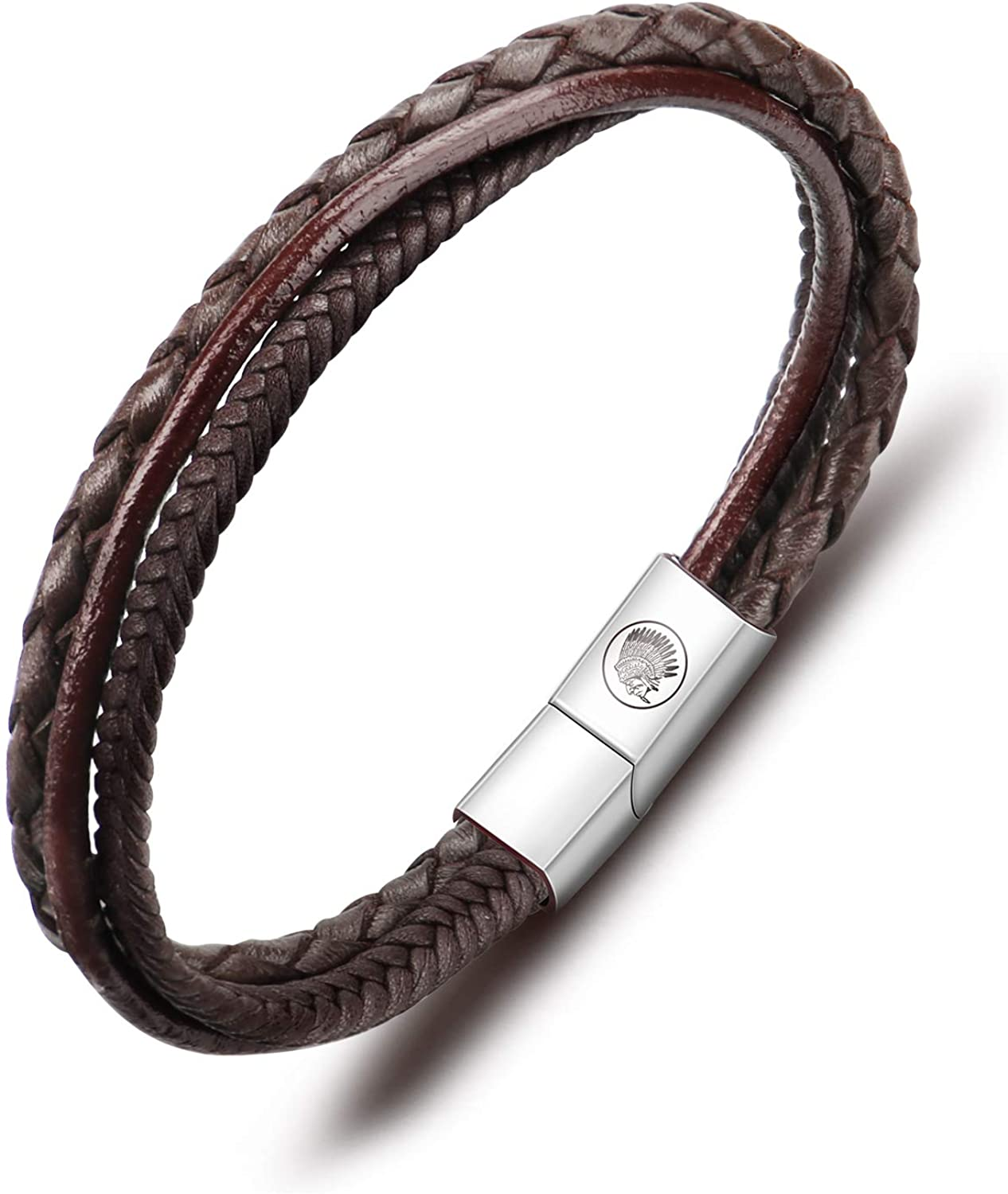 Casisto.J Leather Bracelet for Men Magnetic Steel Clasp Cowhide Braided Mens Bracelet 7.5-8.7 Inches, with Premium Gift Box