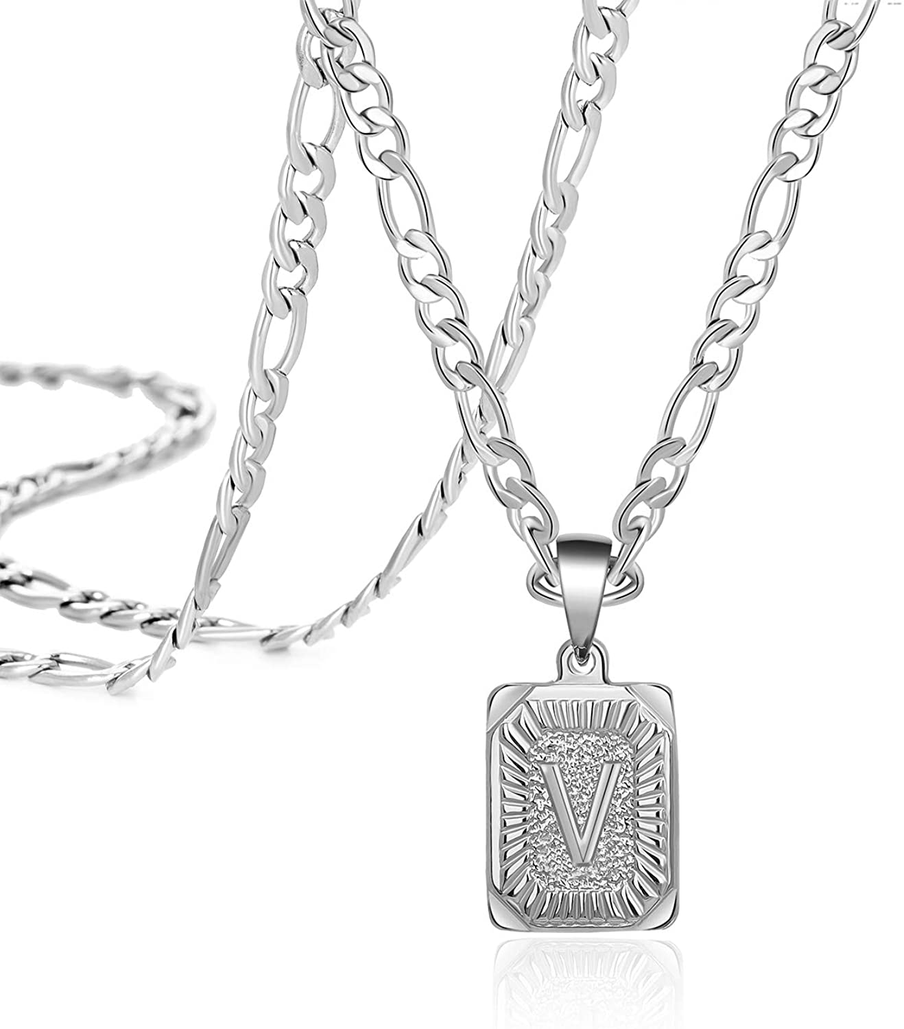 Joycuff Silver Square Initial Necklaces for Women Men Teen Girls Boys Husband Dad Mom Daughter Personalized Letter Name 26 Alphabets Stainless Steel Figaro Chain Medallion Pendant Necklace