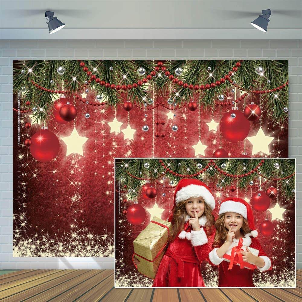 CYLYH 10x8ft Christmas Red Photography Backdrop Christmas Theme Backdrop New Year Decoration Background Family Party Baby Shower Decorations SDJ-503