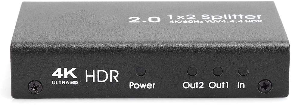 HDMI2.0 1x2 HDMI Splitter 1-in-2-out HD 4K / 60fs Video Distributor Supports 3D 4K@30HZ Full HD 1080P 1 in 2 Out Digital 1 x 2 HDMI Splitters Signal Distributor for DVD Players, Laptop, PS4(Black)