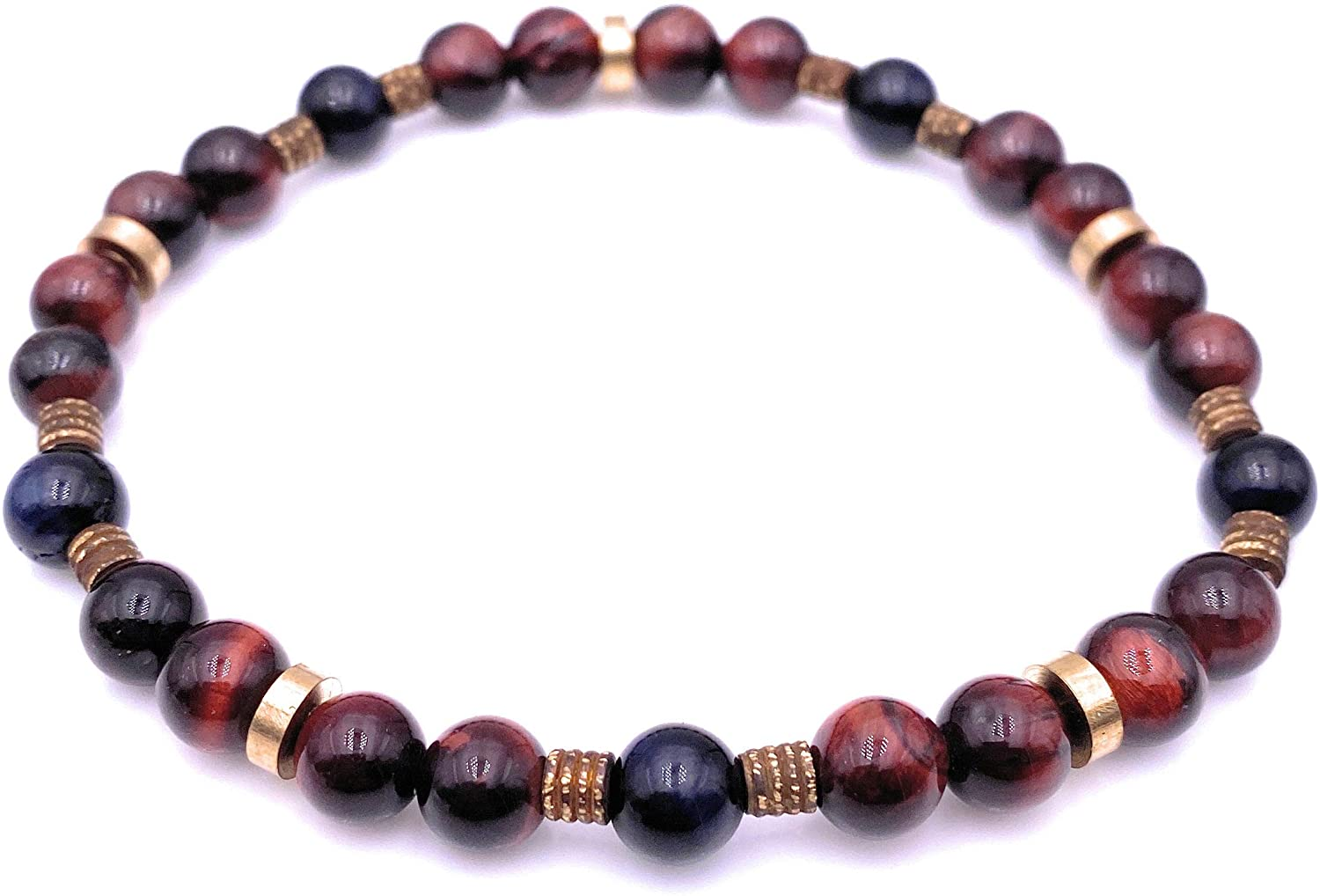 Men Good Luck Stone Beaded Stretch Bracelet - Red / Blue - Dispelling Fear and Anxiety