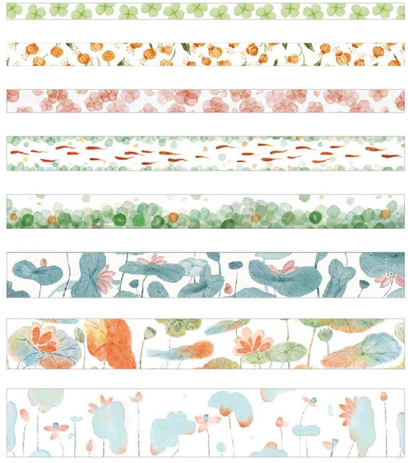 i7kbgshj 6 Rolls Washi Tape Self Adhesive Animals Vegetables Fruit Washi Masking Tape DIY Scrapbooking Phone Decorating Bud Silk Stationery Stickers Craft Supplies for Bullet Journals Planners(#3)