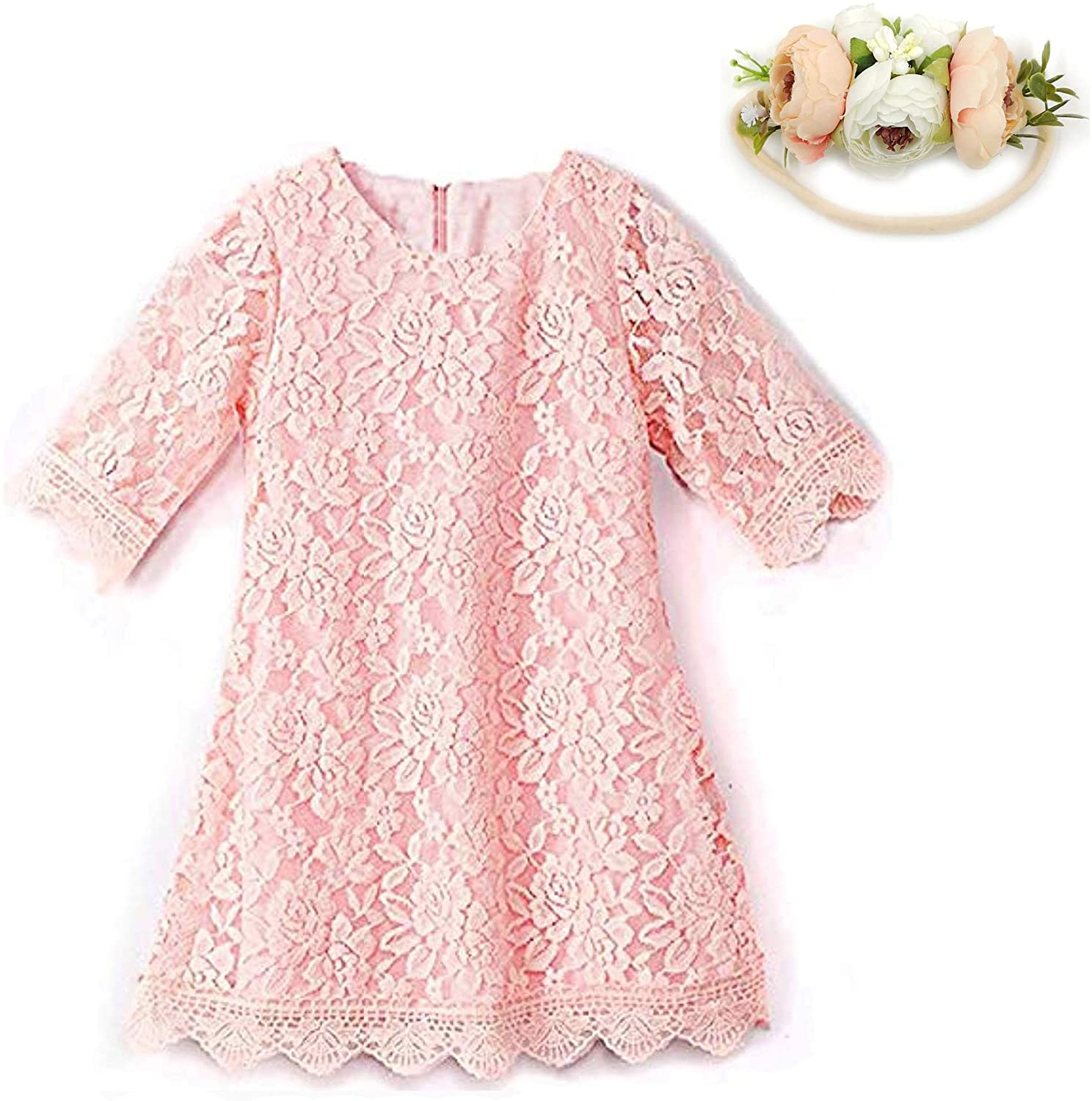 Toddler Girls Lace Flower Dress 3/4 Sleeve Casual Party Wedding Dresses with Headband