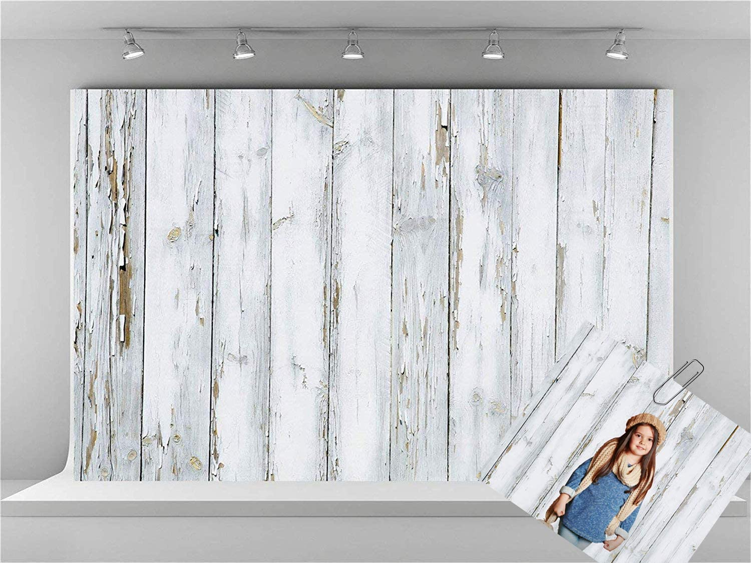 Kate 10x6.5ft Microfiber White Wood Wall Backdrops for Photoshoot Vintage Wooden Texture Background Newborn Adults Kids Portrait Photo Studio Backdrop