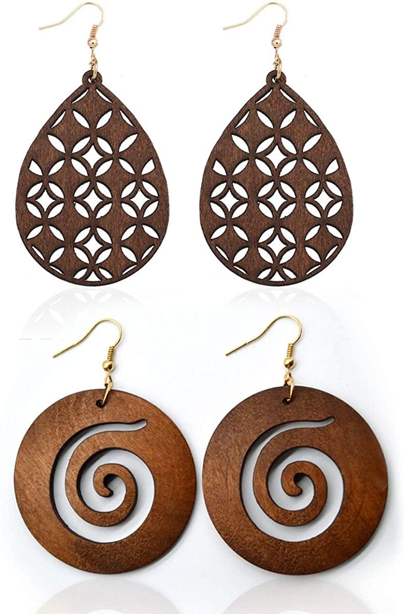 2 Pairs Lightweight Bohemian Wooden Hoop Earrings for Women African Ethnic Wood Drop Earrings Stainless Steel Stud
