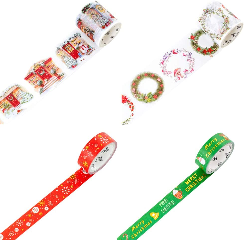 STOBOK 4 Rolls Christmas Washi Tapes 15mm Wide Masking Paper Tapes for Scrapbooking Notebook DIY Crafts