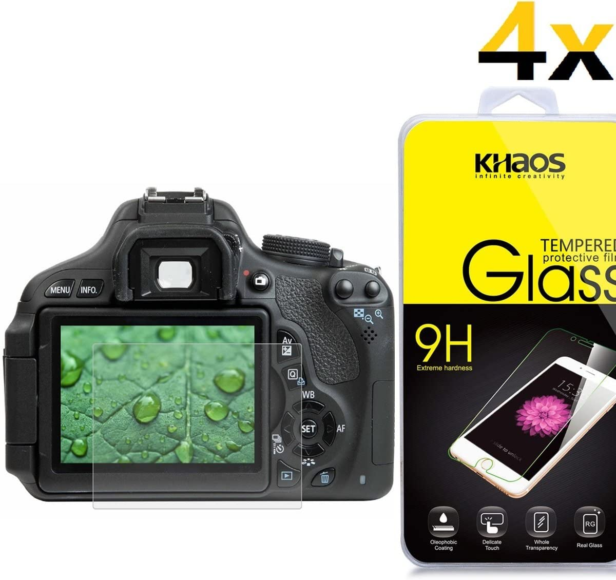 [4-Pack]-KHAOS for Canon 650D 70D 700D 750D 760D 80D Screen Protector,HD Tempered Glass 2.5D Edge,Retail Package,Lifetime Replacement Warranty