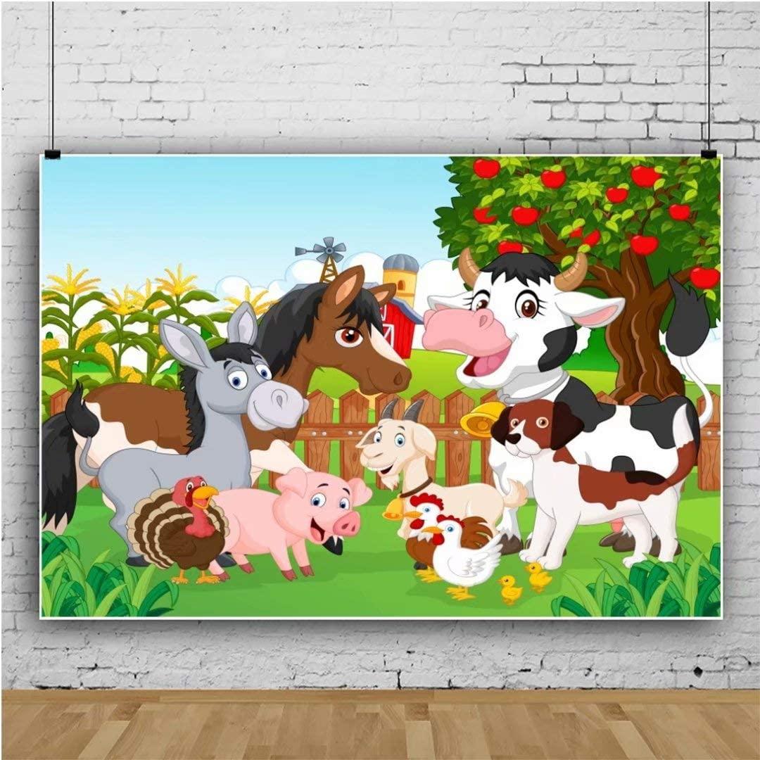 Leowefowa 5x3ft Vinyl Photography Backdrop Cartoon Farm Theme Birthday Backdrop Farm Animals Barnyard Apple Tree Corn Grass Field Background Party Decoration Portrait Photo Shoot Studio Photo Props